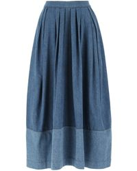 Chloé Side Pocket Denim Midi Skirt - Blue