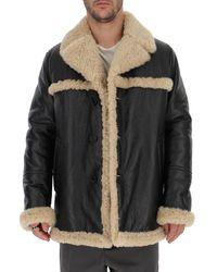 Prada Shearling Trimmed Coat - Black