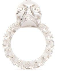 Alexander McQueen Skull Logo Ring - Metallic