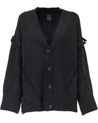 Pinko Frayed Trim Knitted Cardigan - Black