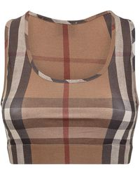 Burberry Vintage Check Scoop Neck Tank Top - Brown
