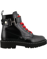 Hogan Lace-up Combat Boots - Black