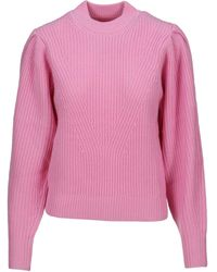 Isabel Marant Crewneck Puff-sleeved Knit Sweater - Pink
