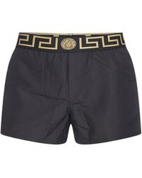 Versace Medusa Waistband Swim Shorts - Black