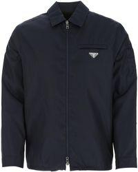 Prada Zipped Shirt Jacket - Blue