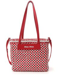 Miu Miu Colour Block Woven Tote Bag - Red