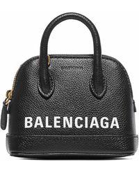 Balenciaga Nano Ville Leather Top Handle Bag - Black