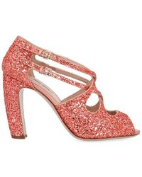 Miu Miu Strappy Glitter Sandals - Pink