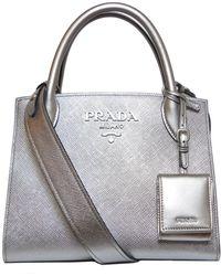 930d029a7072 Prada Monochrome Handbag in Black - Lyst