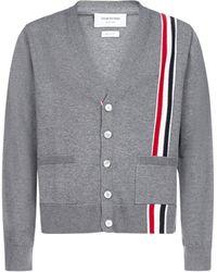 Thom Browne Rwb Stripe Cardigan - Grey