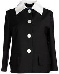 Prada Contrast Collar Jacket - Black