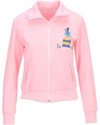 Comme des Garçons Graphic Embroidered Zipped Sweatshirt - Pink