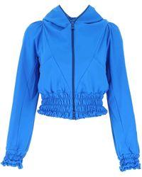 Marine Serre Ruched Detailed Hooded Zipped Jacket - Blue