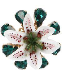 Dolce & Gabbana Floral Embellished Ring - Green