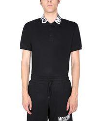 Moschino Regular Fit Cotton Piqué Polo Shirt With Logo - Black