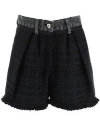 Sacai Tweed And Denim Shorts - Black