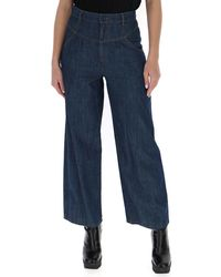 See By Chloé Cropped High Waisted Jeans - Blue