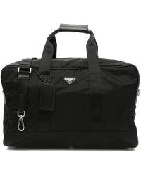 Prada Logo Plaque Duffle Bag - Black