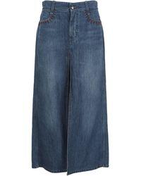 Chloé Front Slit Denim Maxi Skirt - Blue