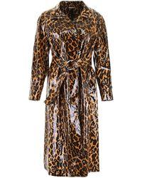 Miu Miu Leopard-printed Coat - Brown