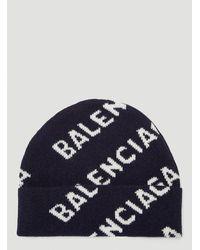 Balenciaga Allover Logo Intarsia Beanie - Blue