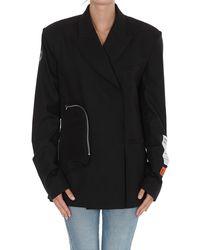Heron Preston Logo Patch Wrap Front Blazer - Black