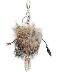 Prada Fur Robot Keyring - Natural