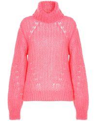 P.A.R.O.S.H. Chunky Knit Straight Hem Jumper - Pink
