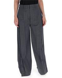 Prada Checked Wide-leg Trousers - Grey