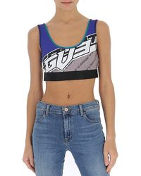 Givenchy Logo Print Sports Bra - Blue