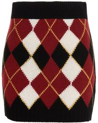 RED Valentino Redvalentino Argyll Intarsia Mini Pencil Skirt - Black