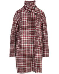 Love Moschino Tartan Double-breasted Coat - Red
