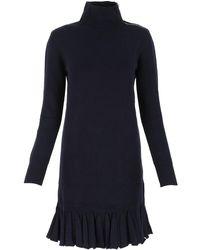 Chloé Flared Hem Knit Dress - Blue