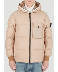 Stone Island Logo Patch Hooded Puffer Jacket - Pink