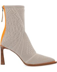 Fendi Jacquard Print Pointed Toe Ankle Boots - Natural
