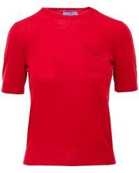 Prada Logo Knitted T-shirt - Red