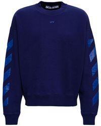 Off-White c/o Virgil Abloh Blue Cotton Sweatshirt With Arrow Skate Print