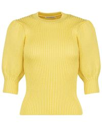 Cecilie Bahnsen Maddy Puff Sleeve Knit Top - Yellow