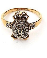 Alexander McQueen Skull Rhinestone Ring - Metallic