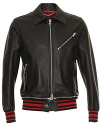 Givenchy - Striped Hem Leather Bomber Jacket - Lyst