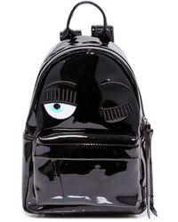 Chiara Ferragni Eye Appliqué Top Handle Zipped Backpack - Black