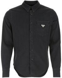 Prada Logo Pocket Denim Shirt - Black