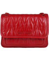 Miu Miu Lettering Logo Quilted-effect Shoulder Bag - Red