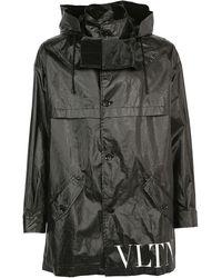 Valentino Vltn Hooded Parka Coat - Black