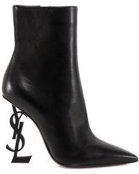 Saint Laurent Opyum 110 Leather Bootie - Black