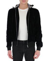 Versace Logo Tape Zip-up Track Jacket - Black