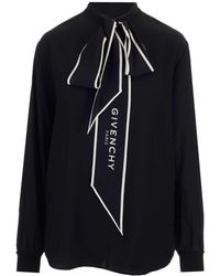 Givenchy Logo Tie Blouse - Black