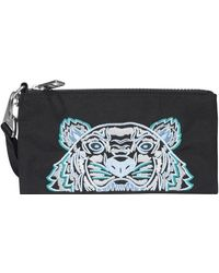 KENZO Tiger Embroidered Clutch Bag - Black