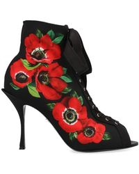 Dolce & Gabbana Floral Print Lace Up Heeled Ankle Boots - Multicolor