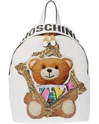 Moschino Teddy Printed Backpack - White